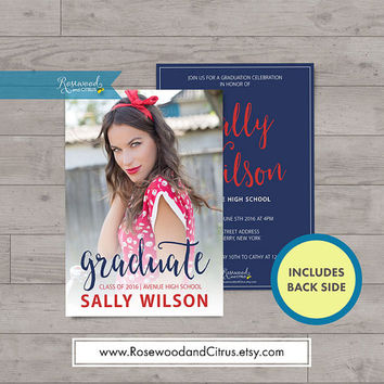 Photocard Graduation Invitation, Graduation Printable, Calligraphy, Graduation Party Invitation, Red, White, Blue, Senior Graduation,