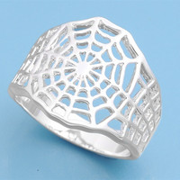 925 Sterling Silver Wicca Creatrix Spider Web 17MM Ring