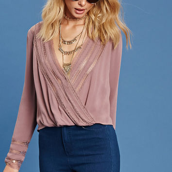 Contemporary Lace Surplice Top