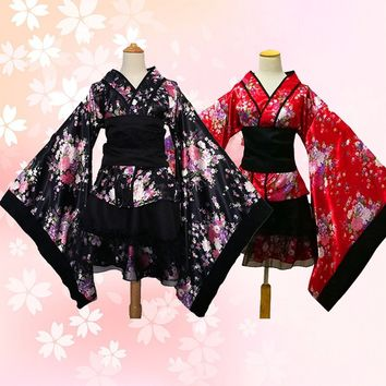 Japanese Costume Halloween Anime Cosplay Uniform Women Themed Party Outfit Sexy Sakura Kimono