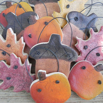 Fall Salt Dough Ornaments Set of 12 Pumpkins, Acorns and Leaf Party Favors / Napkin Rings