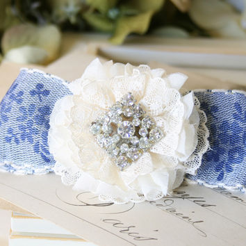 Rhinestone Bridal Hair Barrette - Something Blue Floral Lace Hair Bow
