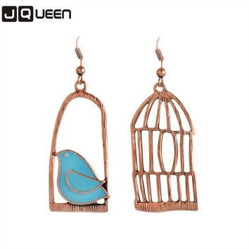 2017 Vintage Color Oil Bird Cage Lovely Drop Earrings For Women Brincos Asymmetrical Peace Dove Bird Cage Dangle Earrings