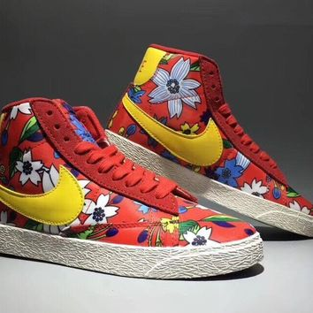 """Nike Blazer Low Prm Vntg"" Women Sport Casual Multicolor Flowers High Help Sneakers Plate Shoes"