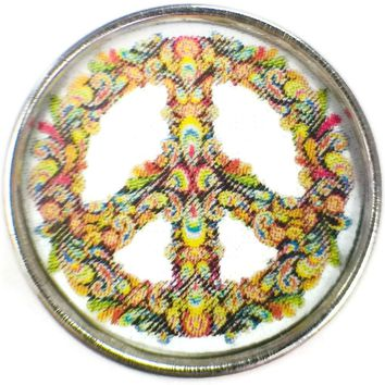 Cool Paisley Art Peace Sign 18MM - 20MM Fashion Snap Jewelry Charm New Item