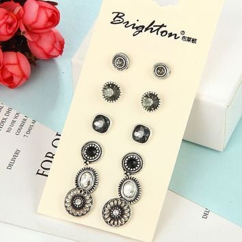 Earrings Vintage Silver Alloy Diamonds Scales [11639582676]