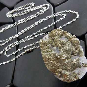 Pyrite Druzy and Sterling Silver Necklace, Drusy Pendant, Long Pendant Necklace, Unusual Stone Necklace, Raw Crystal Necklace, Pyrite Drusy