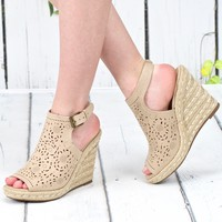 Not Rated: Jobyna Laser Cut Suede Wedge {Nude}