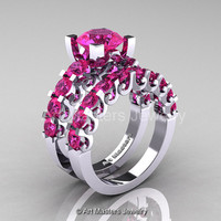 Modern Vintage 14K White Gold 3.0 Ct Pink Sapphire Designer Wedding Ring Bridal Set R142S-14KWGPS