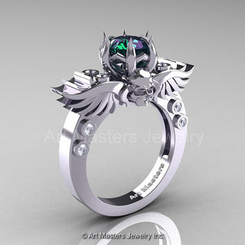 Art Masters Classic Winged Skull 14K White Gold 1.0 Ct Alexandrite Diamond Solitaire Engagement Ring R613-14KWGDAL