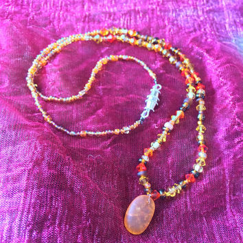 Beaded Crackled Glass Necklace with Clasp