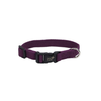 "New Earth Soy Adjust Dog Collar 1"" x 18-26"" Eggplant"