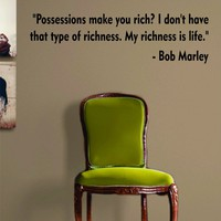 Bob Marley My Richness Is Life Quote Decal Sticker Wall Vinyl Art Music