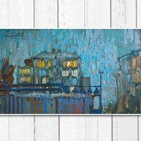 Night, Summer (Original painting)oil painting , cityscape, free shipping