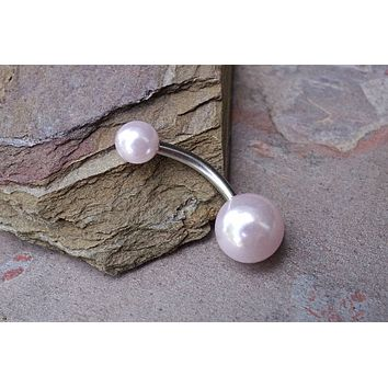 Simple Light Pink Pearl Belly Button Ring