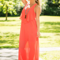 Just Mesmerize Me Maxi Dress, Coral