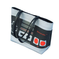 Large Printed Retro NES Nintendo Controller Handbag with Silver Studded Hardware and Snap Closure