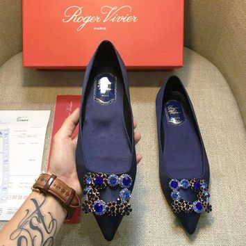 ROGER VIVIER summer new pointed rhinestone square buckle flat shoes F-AHD-HNXG-ZD blue