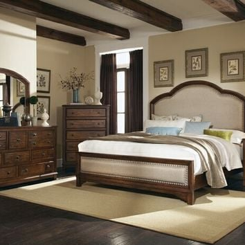 5 pc laughton collection rustic country style cocoa brown finish wood queen bedroom set with padded headboard