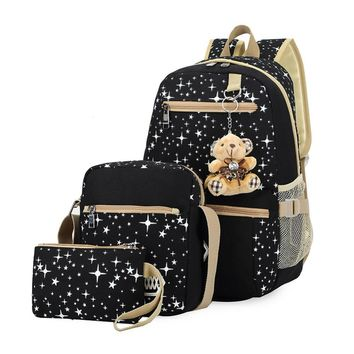 3Pcs/Set Korean Star Women Canvas Backpacks Female Travel School Bags for Teenagers Girls Crossbody Bag Clutch Purse