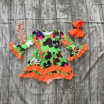 baby girls Halloween dress children girls ghost pumpkin dress with orange lace ruffle dress girls Fall dress with accessories