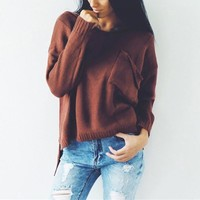 Winter V-neck Long Sleeve Split Pullover Ripped Holes Sweater [42066935823]