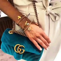 GUCCI Marmont Women Shopping Leather Metal Chain Crossbody Satchel Shoulder Bag H-LLBPFSH Tagre™
