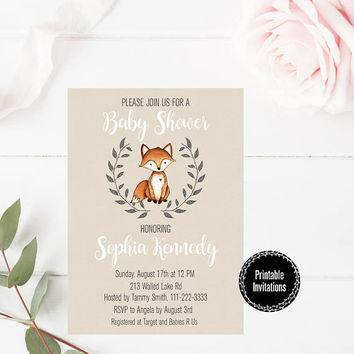 Fox Baby Shower Party Invitation, Baby Boy Baby Shower Party Invitation Printable, Fox Invitation, Boy Baby Shower Party Printable, Invite