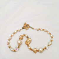 Vintage Faux Pearl And Crystal Necklace Chocker With Toggle Closure