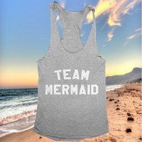 team mermaid tank top dark grey yoga gym fitness work out fashion cute gift funny saying