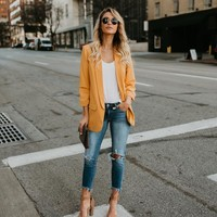 Miss Punctuality Pocketed Blazer - Mustard
