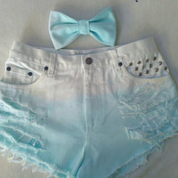 High Waisted Aqua Ombre Shorts and Pastel Bow
