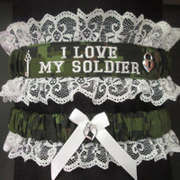 Handcrafted Canadian Army Garter set with I Love My Soldier embroidered on it.