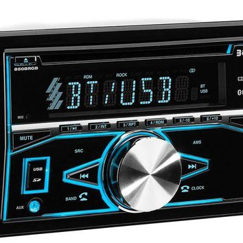 DCK4S2 BOSS Audio 850BRGB Double Din, Bluetooth, CD/MP3/USB/SD AM/FM Car Stereo, Wireless Remote, Multi Color Illumination