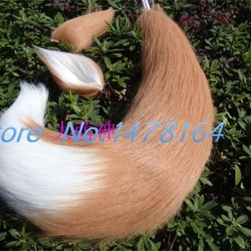 Japan Anime Spice and Wolf Holo fox ears & tail plush cosplay Costumes prop 40cm 55cm 65cm 75cm 85cm 95cm Handmade free shipping