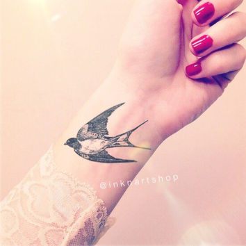 2pcs Vintage Swallow Bird illustration - InknArt Temporary Tattoo - set wrist quote tattoo body sticker fake tattoo wedding tattoo small