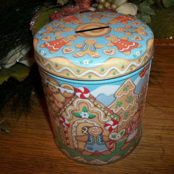 Metal Canister Coin Bank Christmas Gingerbread Cookie Boy Girl House Vintage 1980's Child's Money Box Holiday Home Decor