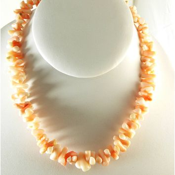 Vintage Angel Skin Coral Branch Necklace