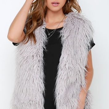 Mink Pink Endless Shaggy Grey Faux Fur Vest