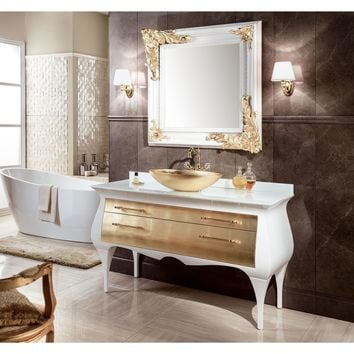 "GM Luxury Rialto 55.5"" Master Bathroom Vanity Gold Leaf Cabinet With Vessel Sink"