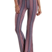 Multi Geometric Print Knit Flare Pants by Charlotte Russe