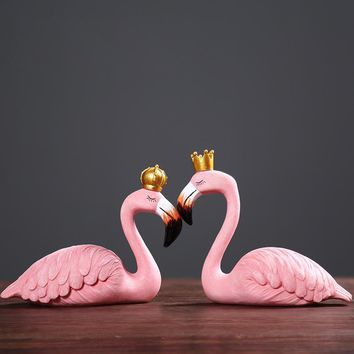 Cool Resin Pink Flamingo Home Decor Figure for Girl Ins Home Decor Gifts for Girl Couple ornament Gift King queen Wedding SuppliesAT_93_12