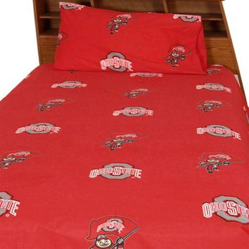 Ohio State Buckeyes Bed Sheet Set Collegiate Red Bedding