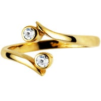 Solid 14K Yellow Gold .02 Carat Genuine Diamond Toe Ring | Body Candy Body Jewelry