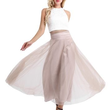 #4-16 Rose Brown Women Ladies Sleeveless Lace Floral Tank Top with Mesh Maxi Skirt Bridesmaid Evening Prom Gown