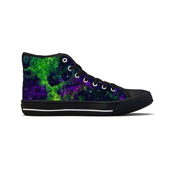 Green Galaxy - High Top Canvas Shoes