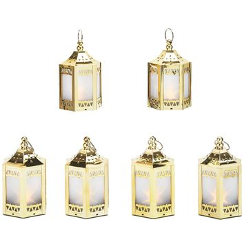 "6 Gold Mini Holographic Star Lanterns, 5"", Warm White LEDs, Batteries Included"