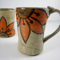 Ceramic Coffee Mug Cup Orange Sunflower Pottery Handmade 15 ounces