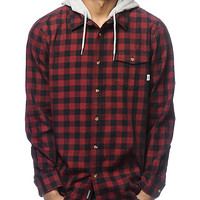 Vans Eckleson Red & Black Hooded Long Sleeve Button Up Shirt