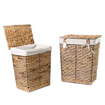 Seagrass Laundry Basket With Lid (Set of 2)